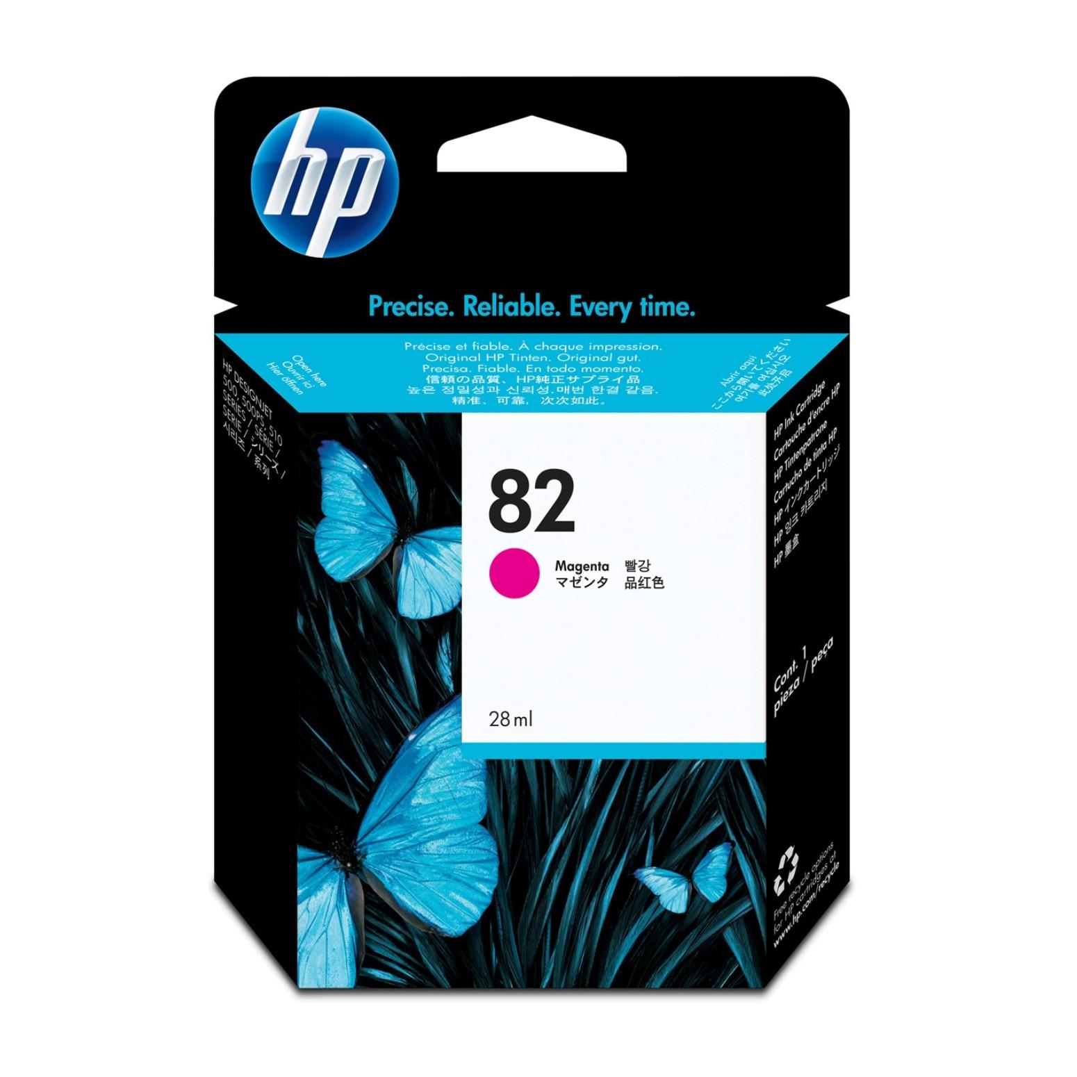 HP 82 28 ml Magenta DesignJet Ink Cartridge, Magenta, HP, Designjet 500/500 Plus/500PS/510, CH567A, Inkjet, 28 ml