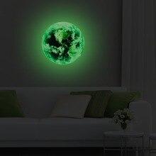 купить ILOKY New 3D wall stickers for kids rooms green light moon glow in the dark stars wall stickers bedroom home decor living room по цене 1057.73 рублей