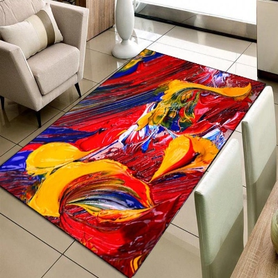 Else Yellow Red Blue Art Abstract Watercolor 3d Print Non Slip Microfiber Living Room Decorative Modern Washable Area Rug Mat