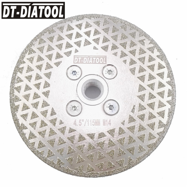 DT-DIATOOL 1pc Electroplated Diamond Cutting Disc Grinding Wheel Both Side Coated Saw Blade for cuttting marble tile  M14 Thread