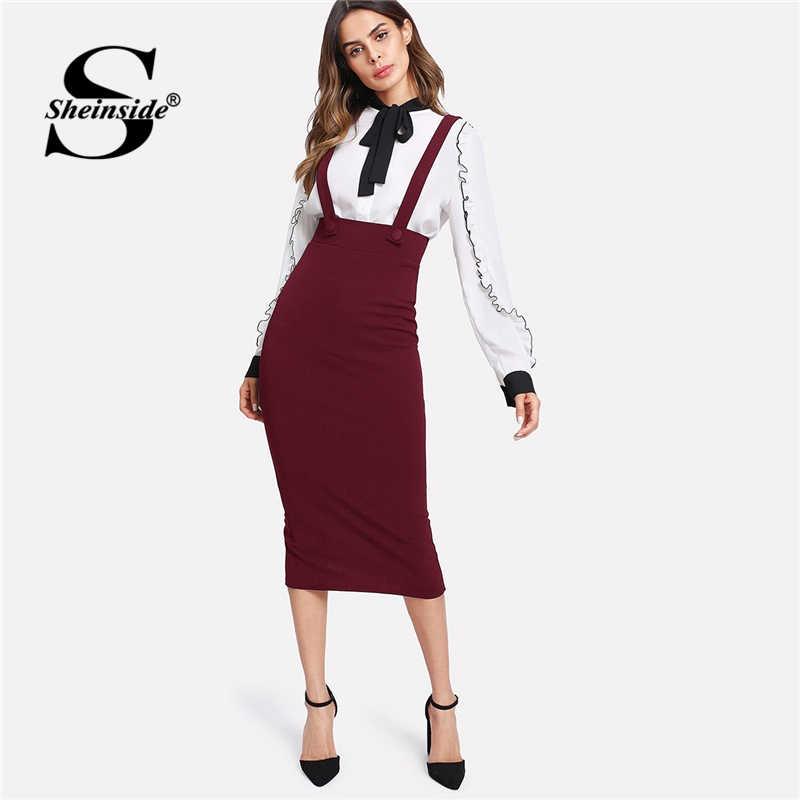 f02aec52f4 Sheinside Spring Autumn Midi Skirt Women Elegant Clothes High Waist Sheath  Skirts Burgundy Slit Back Pencil