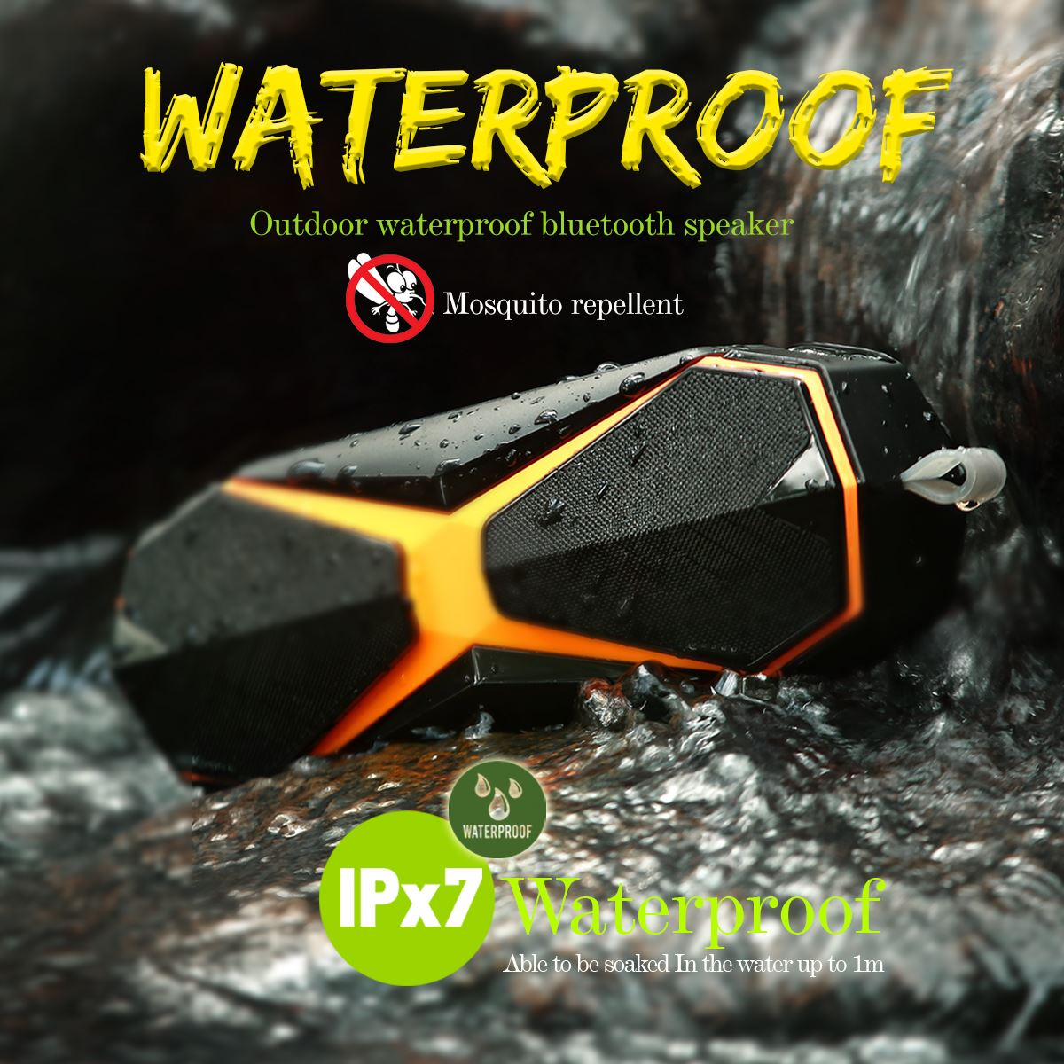 1Pcs Portable Outdoor Speaker Waterproof IPX7 Bluetooth Wireless Loudspeakers Speakers Microphone Handfree