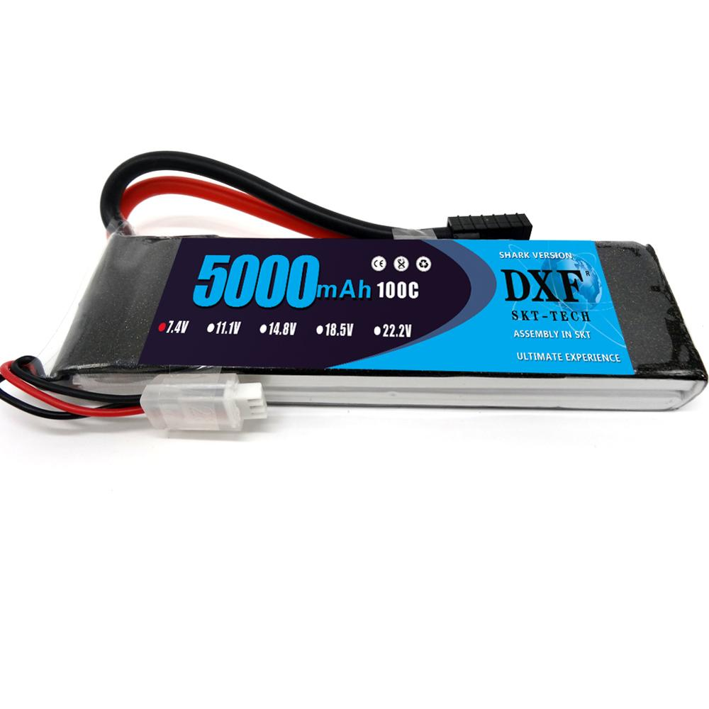 DXF RC <font><b>Lipo</b></font> Battery <font><b>2S</b></font> 7.4V <font><b>5000mAh</b></font> 100C Max 200C Bateria for AKKU Car Boat Airplane Quadcopter Slash 4x4 Remo Hobby Jet image