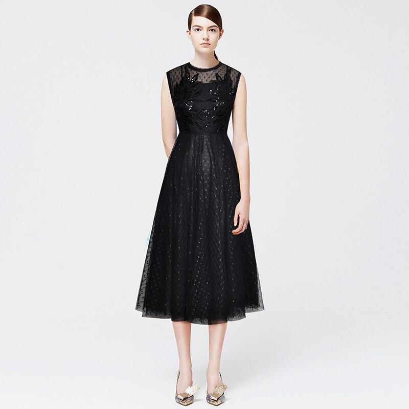 Robe cou Paillettes A O line Élégante ligne Dresses Mode Designer Manches Dress Sans Broderie Robes Maille Embroidery a Femmes RjALc5q34S