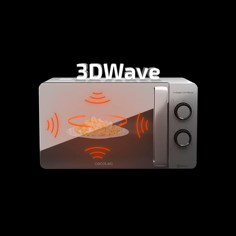 Cecotec Microwave ProClean 3160 Mirror Silver with Grill Technology 3DWave Timer Elegant design Efficient Quick and Easy Cleani