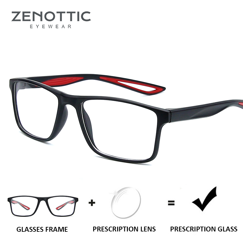 ZENOTTIC Sport Prescription Glasses Men Optical Myopia Eyeglasses Black Anti-Blue-Ray Photochromic Eye Glasses Transparent 2019