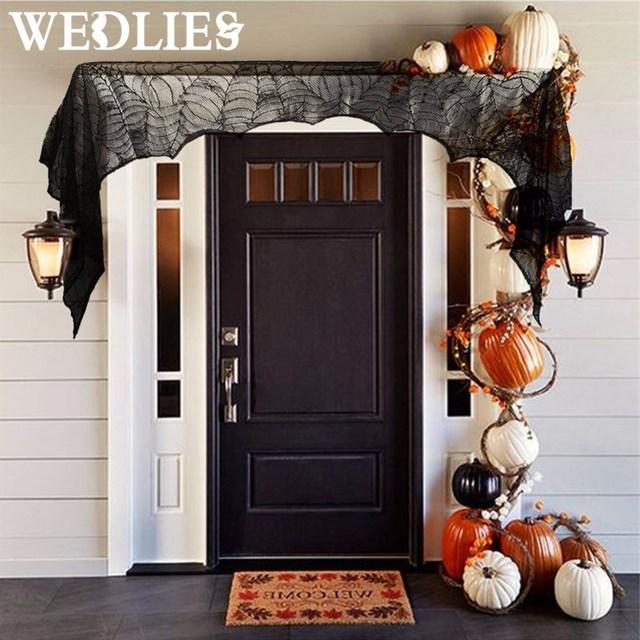 Window Door Curtain Spider Web Black Lace Door 188cmx90cm Halloween Party  Decorations For Home Fireplace Mantle