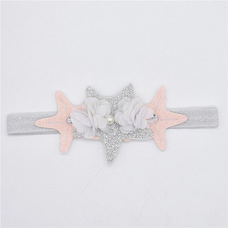 Baby Star Opaski Sliver Pink White Menina Kwiaty Hairbands Dzieci - Odzież dla niemowląt - Zdjęcie 2
