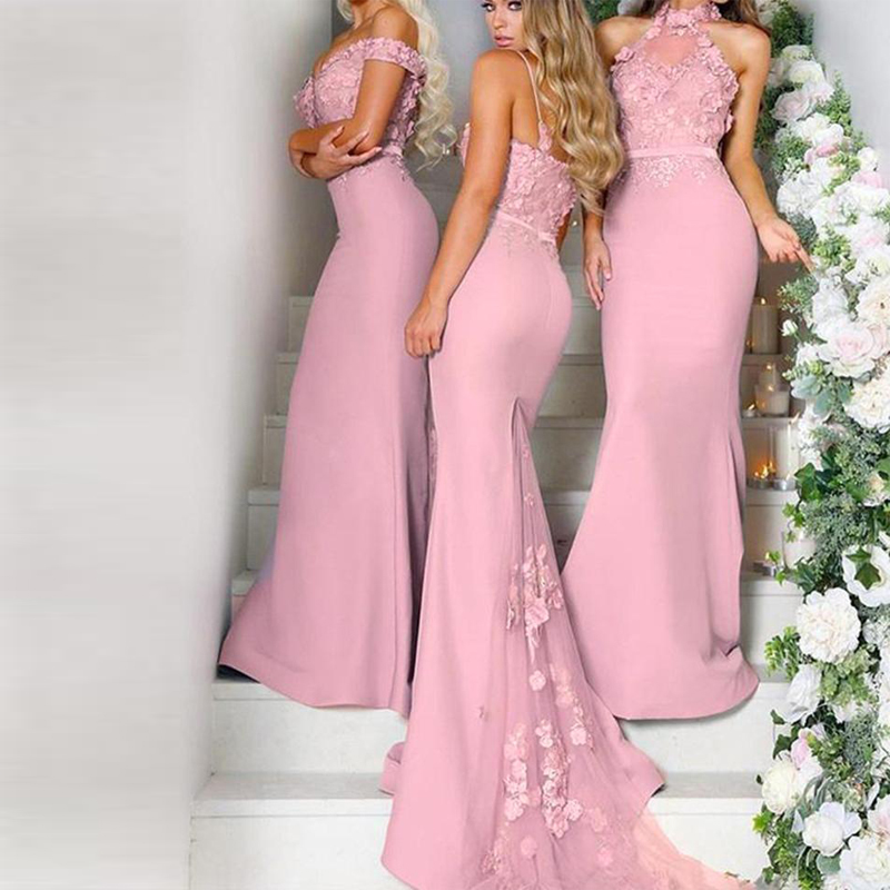 Pink   Bridesmaid     Dresses   Long Chiffon Boat Neck Sleeveless Floor Length Backless Custom Made robe demoiselle d'honne