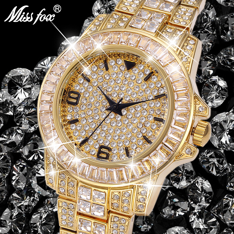 MISSFOX Classic Arabic Watch Men Top Brand Luxury Men Watch Waterproof Male Clock Full Diamond Quartz Iced Out Watch With Box