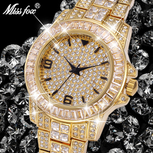 Missfox Waterproof Watch Clock Hublo Rolexable Unisex Full-Diamond Luxury Quartz