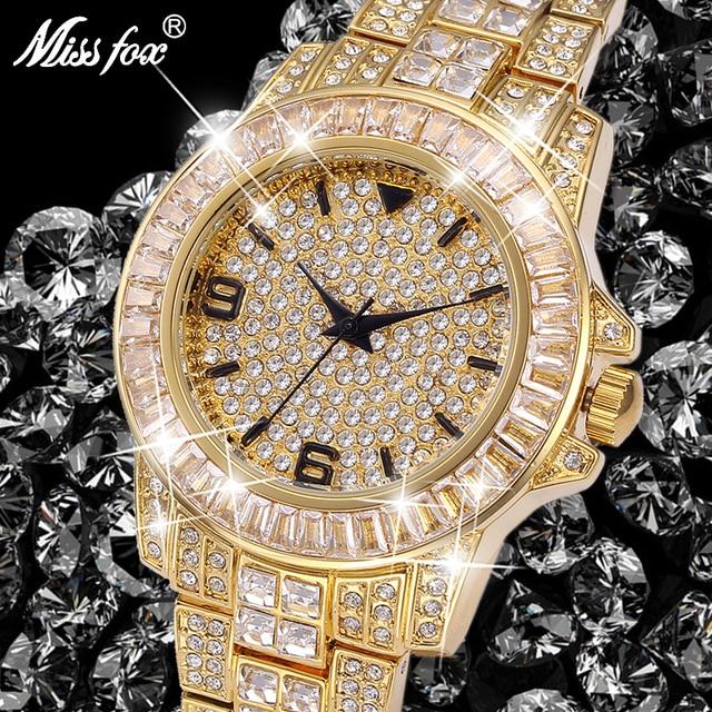 Role Watches Men Top Brand Luxury Missfox Rolexable Waterproof Watch Male Clock Full Diamond Hublo Unisex Quartz Watch With Box