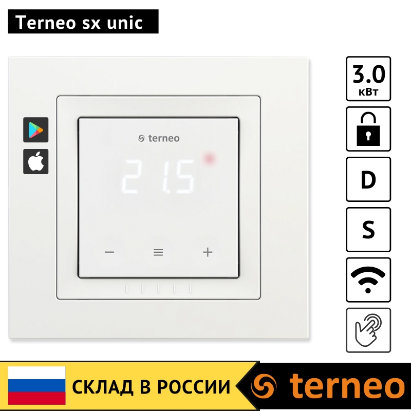Terneo Sx Unic - Touch Screen Thermostat For Underfloor Heating With WiFi And A Floor Sensor For Thermoregulator (Unica Frame