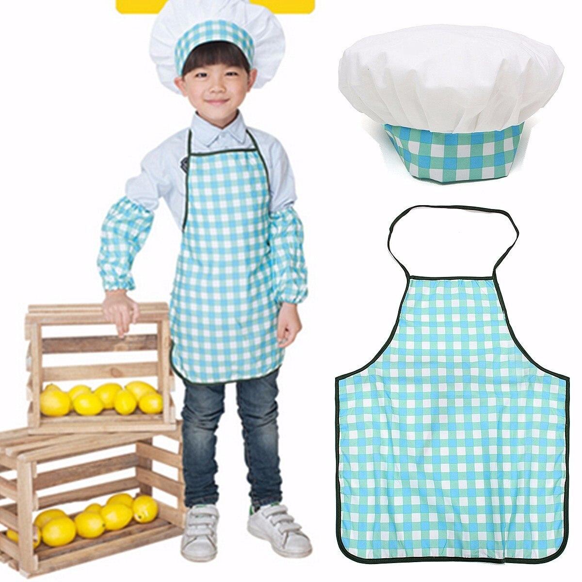 1 Set Children Kids Child Baking Cook Painting Apron Hat Costume ...