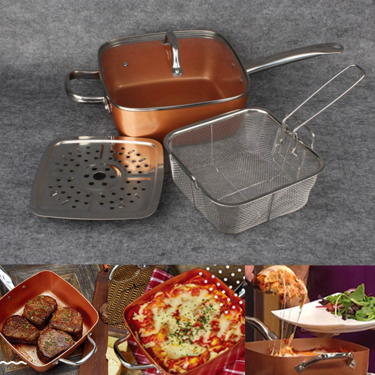 Nonstick Copper Pan Pots Cooker Induction Glass Lid Fry Filter Basket Steam Rack Chef Cooking Tool
