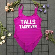 swimwear bathing suit high waist woman summer girl ladies talls takeover swimsuit one piece beachwear letter print backless cool(China)