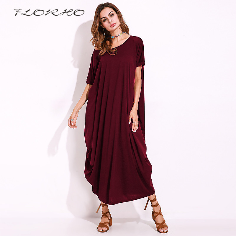 2018 Oversized Solid One Shoulder Baggy Kaftan Women Loose Casual Party Maxi Long Dress Robe Longue Femme Vestidos Plus Size