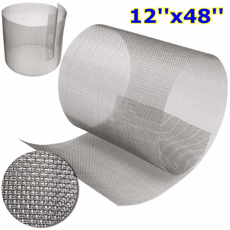 12x48Inch Stainless Steel 316 Cloth Filtration Woven Wire Screen 10 Mesh new stainless steel 304 mesh 4 047 wire cloth screen filter 16 x16 40cm x 40cm