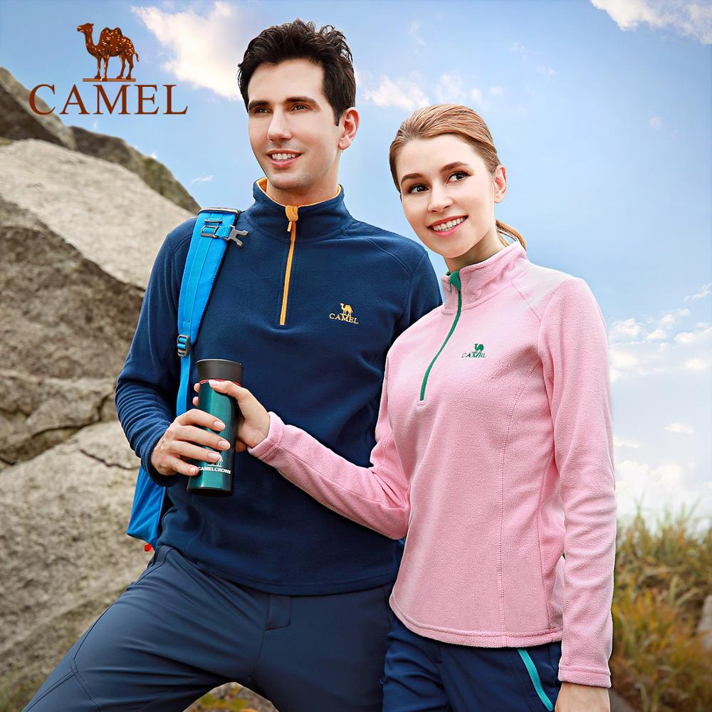 CAMEL Men Women Outdoor Fleece Hiking Jacket 2019 Autumn Windproof Thick Warm Jacket Multicolor Soft Camping Coat