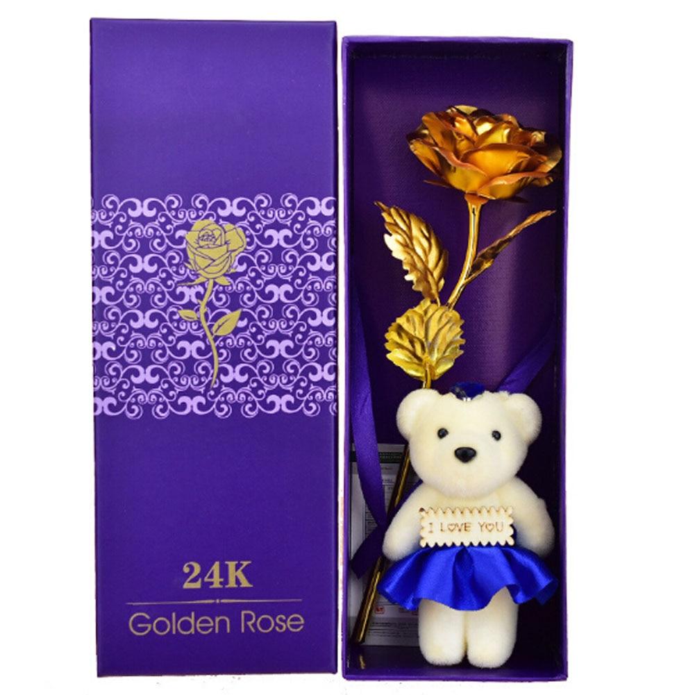 Vendita calda 24 k Oro Rosa Fiore Artificiale 2018 di san Valentino Bouquet di Festa della Mamma Regalo di Nuovo Anno Decorazione dipinta