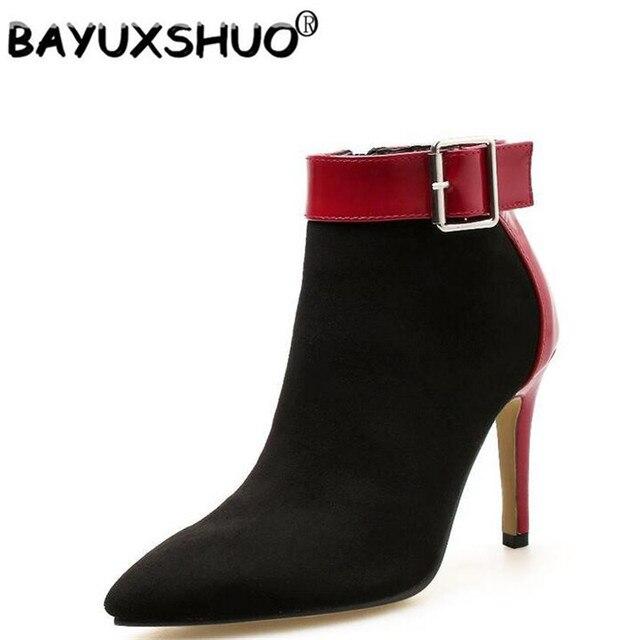 BAYUXSHUO Yeni Marka Tasarım Kadınlar yarım çizmeler Toka fermuar Yüksek Topuklar Bayanlar Stiletto Roma Patik Ayakkabı Kadın Chelsea Çizmeler