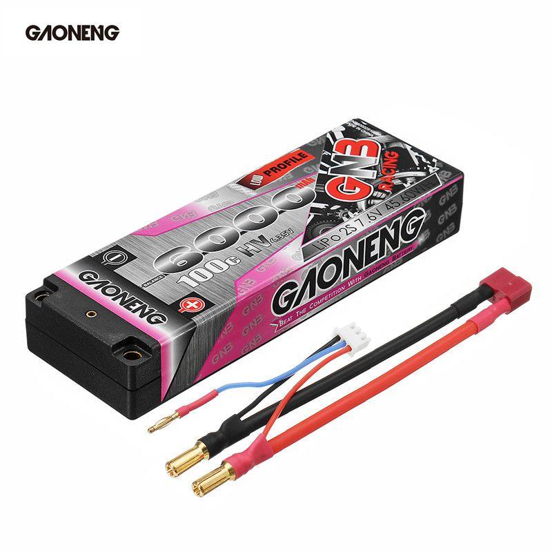 Gaoneng 7.6V 6000mAh 100C 2S HV 4.35V Rechargeable Lipo Battery 5.0mm Banana Plug T Plug for 1:10 RC Car Boat цена
