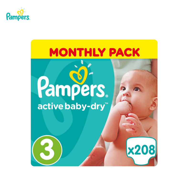 Diapers Pampers Active Baby-Dry 5-9 kg, size 3, 208 pieces