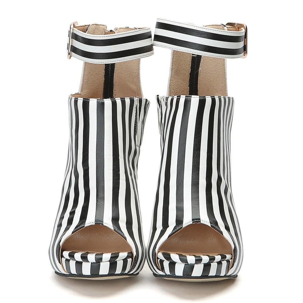 15 D0249 Rayures Chaussures Whiteblack Blanc Et Bout Taille Plus Yifsion Nous Noir Nouvelles Mince D'été Dames 4 Haut Ouvert Femmes Talon À Bottes Belle Bottines SBSwTaxg