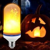 ランプ炎効果火災ライト電球ちらつきled 4ワットe27 e26 2835smdエミュレーション炎ライト1300 k ac100-265v 2モードナイトライ