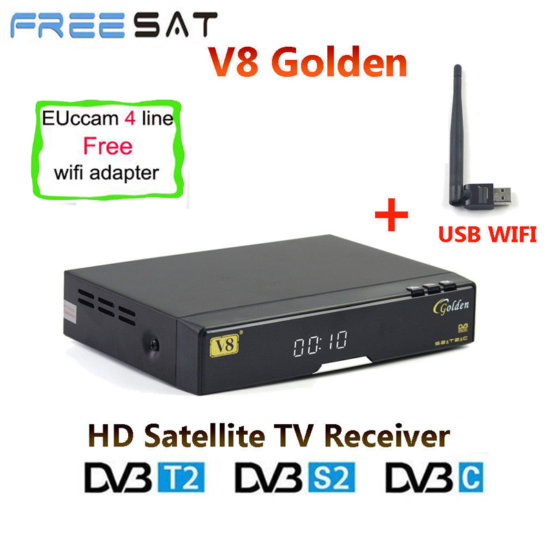 Freesat V8 D'or DVB-S2/T2/C Satellite Décodeur USB WIFI + 1 année Europe 4 Clines CCcam HD BISS Key Powervu set Top Box