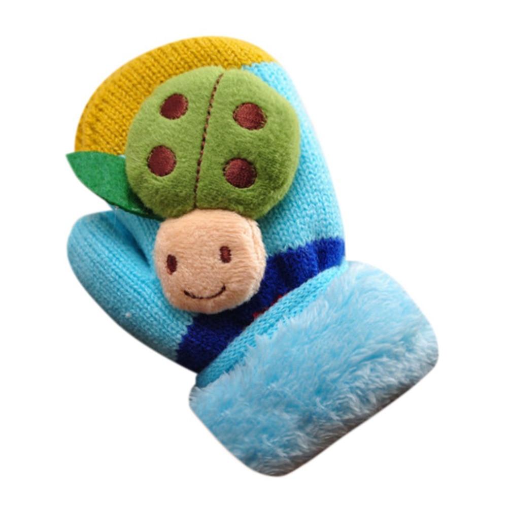 Cute Cartoon Beatles Winter Thicken Warm Infant Girls Boys Gloves Gift