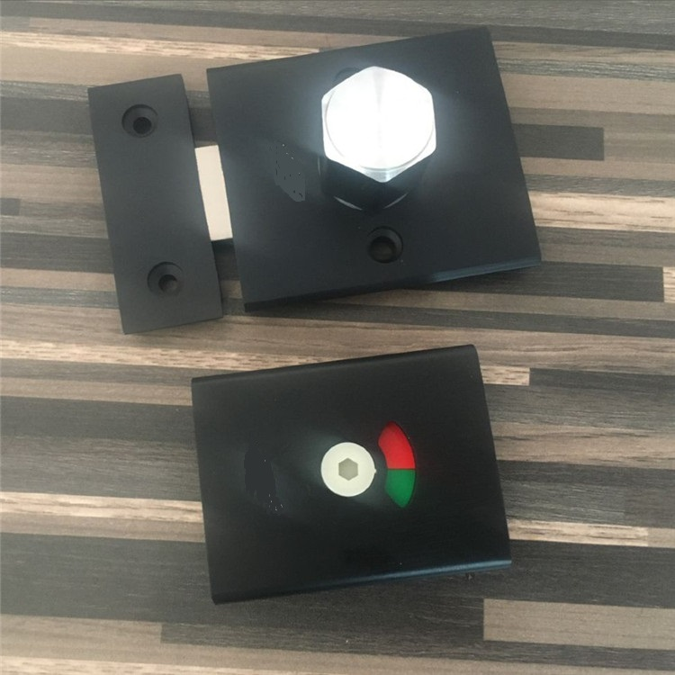 Aluminum Matte Black Door Lock Latch With Red Green Indicator Public Restroom Toilet Partition Thumb turn public restroom 7 8pt dia male thread press type toilet flush valve adapter zmm