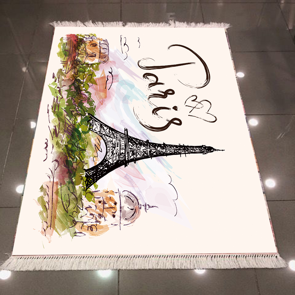 Else Eiffel Tower Paris Writen Floral Flowers Landscape 3d Microfiber Anti Slip Back Washable Decorative Kilim Area Rug Carpet