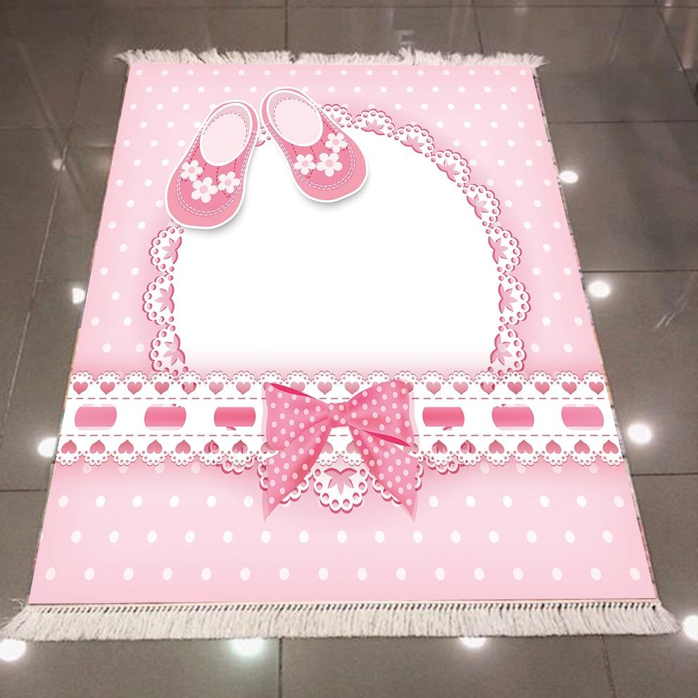 Else Pink Baby Girl Boots Stripes Geometric Lines 3d Print Anti Slip Back Washable Decorative Kilim Kids Room Area Rug Carpet