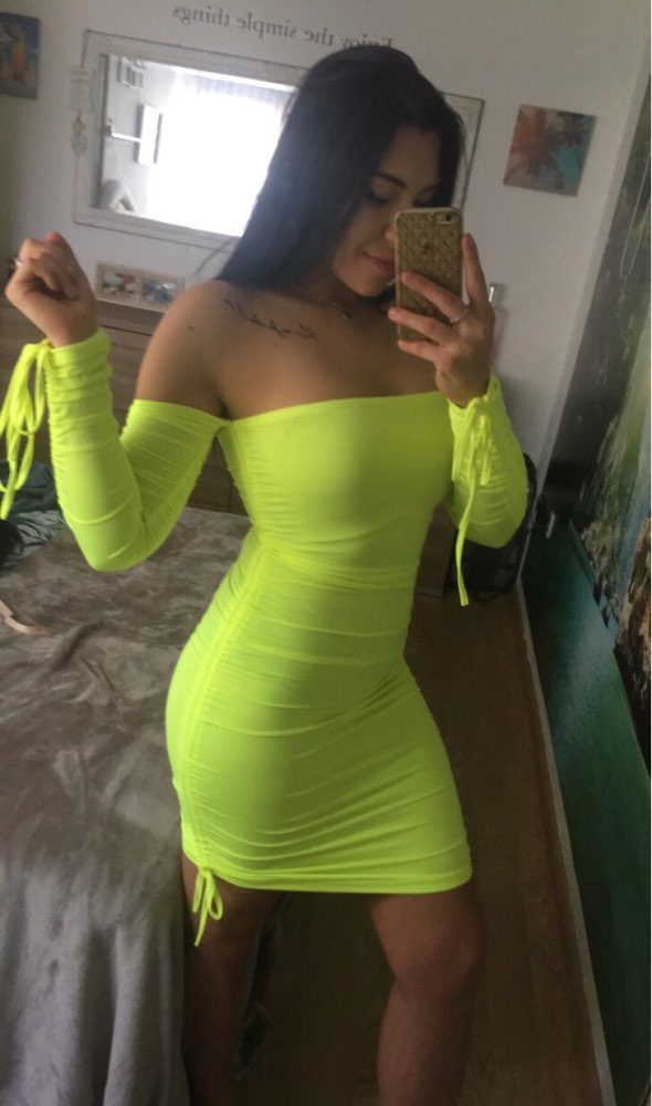 Neon Green Ruched Off Shoulder Long Sleeve Bodycon Dress Sexy Dresses Party Night Club Dresses Fall photo review