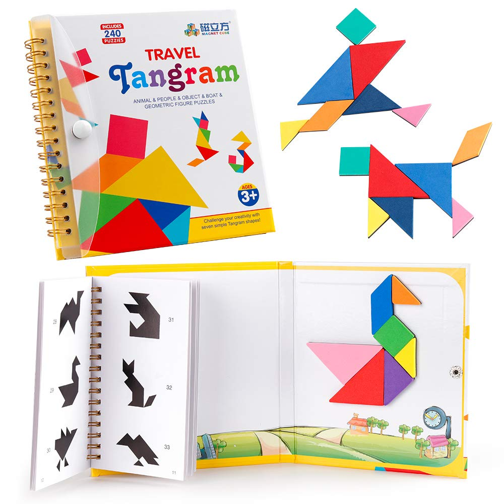 D-FantiX Travel Tangram Puzzle With 3 Set Of Magnetic Tangram Road Trip Tangoes Jigsaw Shapes Dissection Games With Solution