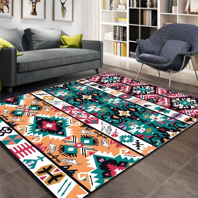 Else Ethnic Retro Orange Green Vintage 3d Pattern Print Anti Slip Microfiber Living Room Decorative Modern Washable Area Rug Mat