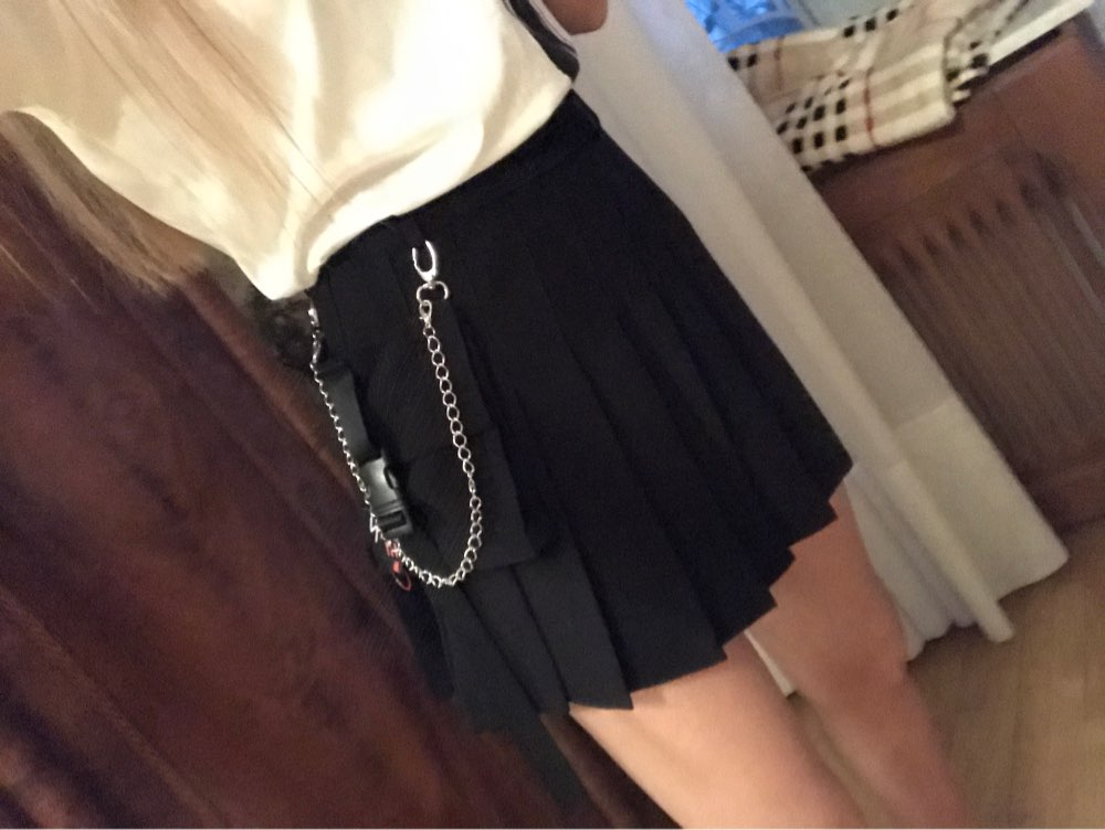 A Line Women Sexy Mini Skirt Plaid Street Style Women Side Pockets Design Mini Pleated Skirt photo review