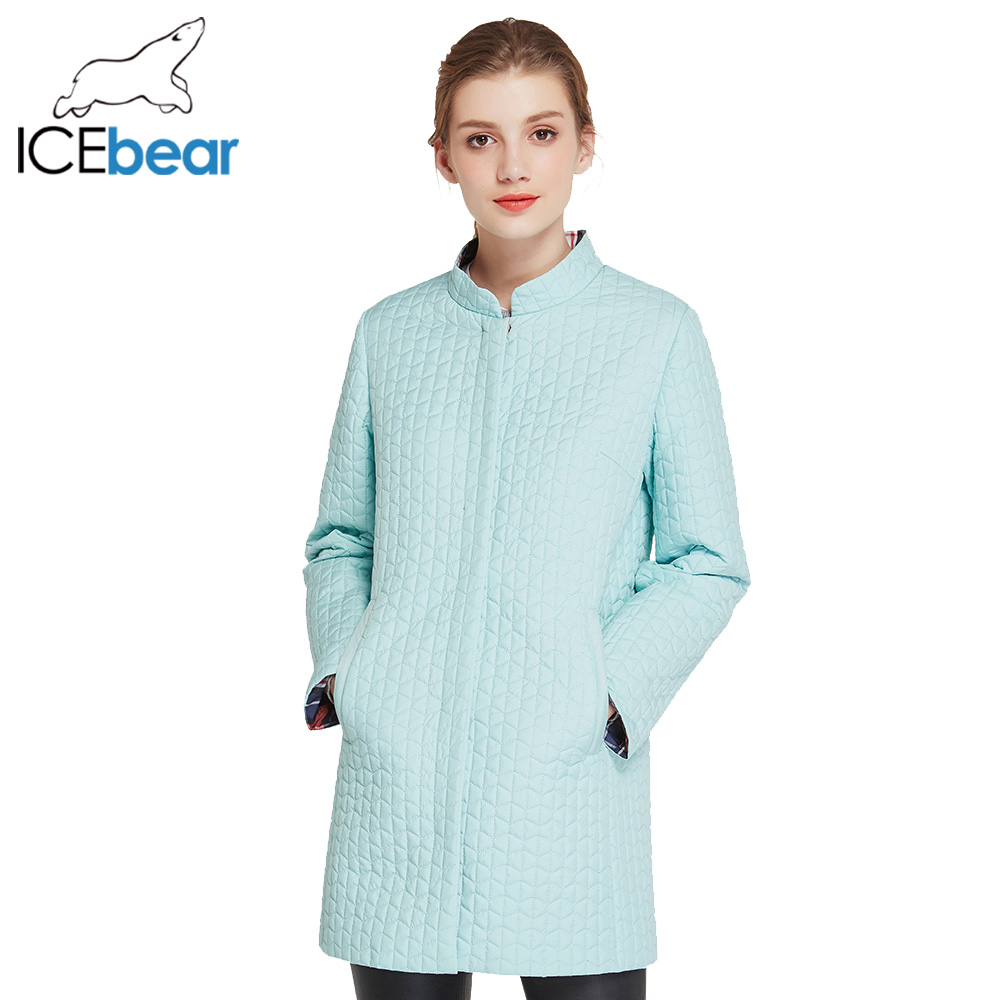ICEbear 2017 Cotton Padded Jacket In Womens Parkas Long Thin Women's Coats O-neck Collar 17G270D