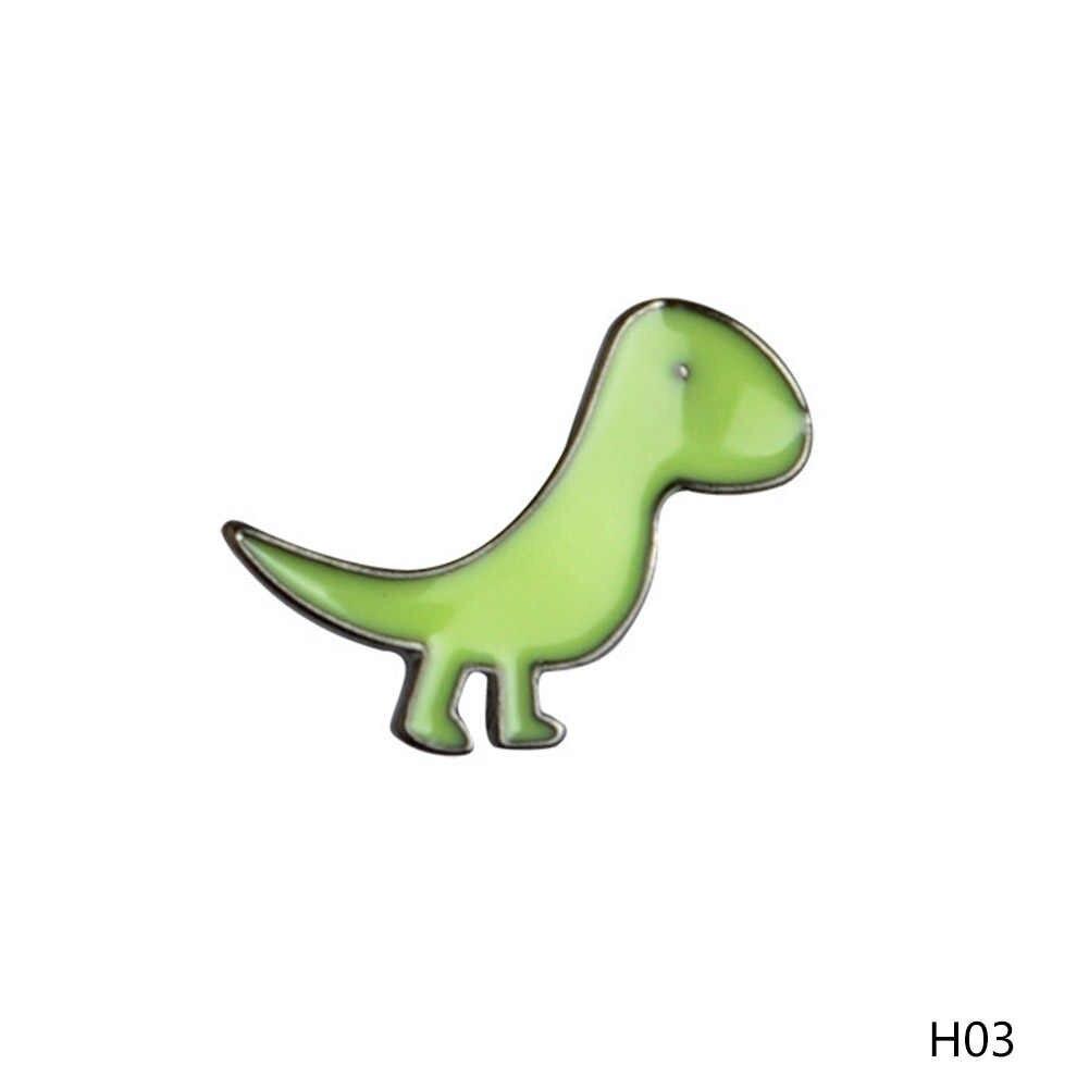 漫画カラフルな恐竜apatosaurusステゴサウルスブローチピンdiyボタンピンデニムジャケットピンバッジギフトジュエリー