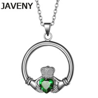 925 Sterling Silver Fine Jewelry Green Cubic Zirconia Wedding Bridal Irish Claddagh Pendants Necklaces for Women Birthday Gifts