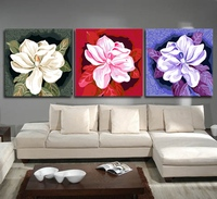 Urijk 3pcs Set Camellia Oil Paintings By Numbers On Canvas Frameless DIY Modular Pictures Arts For