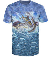 Cool Mens T-shirt 3D Marlin Swordfish Sublimation Printed Marlin Fish Hobby Hip Hop Harajuku T Shirt Top Tees