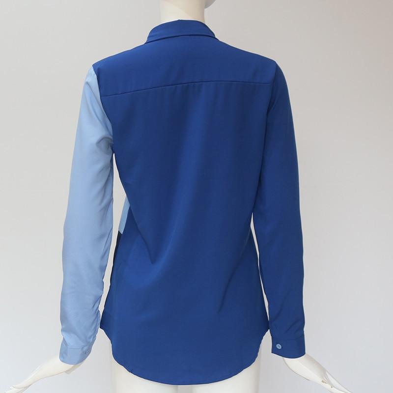 Women Blouses Fashion Long Sleeve Turn Down Collar Office Shirt Leisure Blouse Shirt Casual Tops 29
