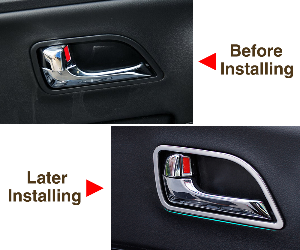 Image 4 - 4pcs/set Plastic Chrome Car interior door handle decoration trim frame For KIA RIO K2 2011 2014,car accessories-in Car Stickers from Automobiles & Motorcycles
