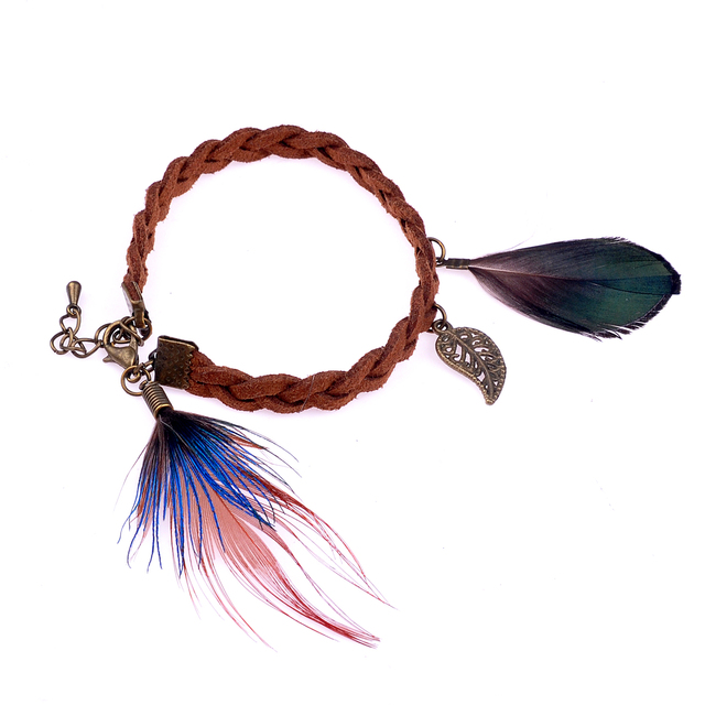 Lureme Native American Jewelry 10 Diffe Style Pheasant Feather With Small Pendant Leather Bracelets For Women