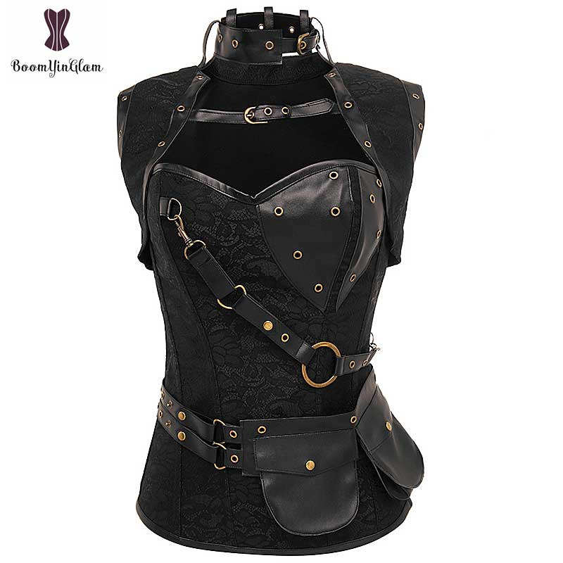 Punk Corset Gothique Bustier Steel Boned Korsett For Women Plus Size 6XL Floral Steampunk Goth Pocket Retro Gorset Vintage Korse