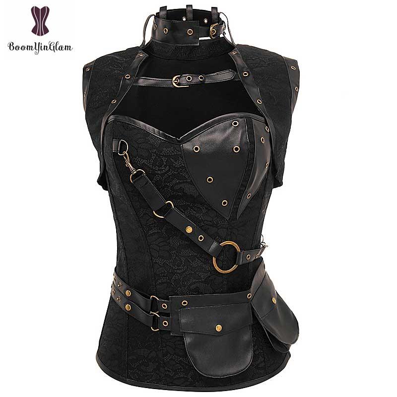 Punk Corset Gothique Bustier Steel Boned Korsett For Women Plus Size 6XL Floral Steampunk Goth Pocket Retro Gorset Vintage Korse