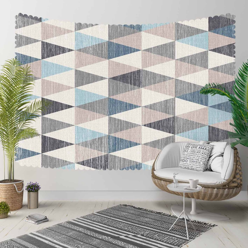 Else Gray Blue Triangles Geometric Nordec Vintage 3D Print Decorative Hippi Bohemian Wall Hanging Landscape Tapestry Wall Art