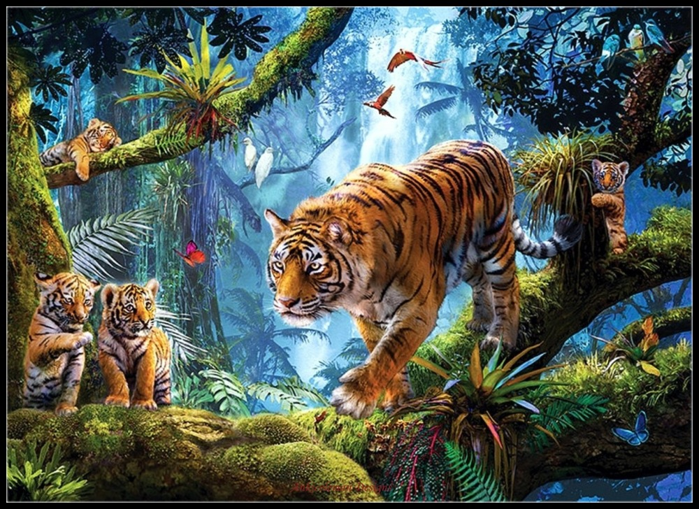 Tigers On Tree - Counted Cross Stitch Kits - DIY Handmade Needlework For Embroidery 14 Ct Cross Stitch Sets DMC Color